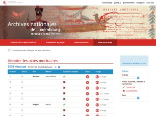 Actes mortuaires des Archives nationales de Luxembourg
